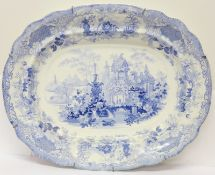 A 19th Century pale blue and white transfer printed plate, marked 'Sicilian', 49.5cm