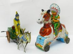 A tin-plate clockwork clown and a T.T. made in Japan 'Indian' Chief on horse