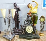 A plated epergne, a/f, two figural clocks and two figures, painted chalk figure a/f
