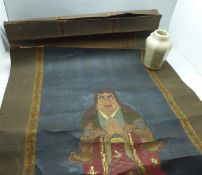 A Japanese scroll with a painted actor and calligraphy (94cm x 40cm) and a small crackle glaze vase,
