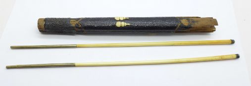 A pair of 19th Century Chinese chopsticks with brass and metal ends, holder a/f