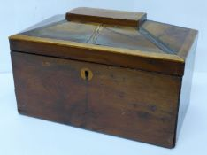 A 19th Century yew wood two compartment tea caddy, internal lids a/f, 23cm
