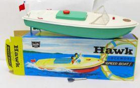 A Sutcliffe Model Hawk clockwork all metal Speed Boat, boxed