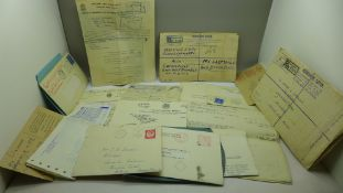 A collection of ephemera, mainly mid 20th Century, receipts including undertakers and a last