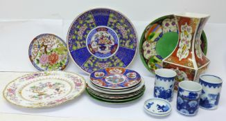 Oriental pottery including three blue and white pots and dish, (two signed on the base) and a