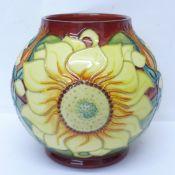 A Moorcroft sunflower globular vase, dated '94, 17cm