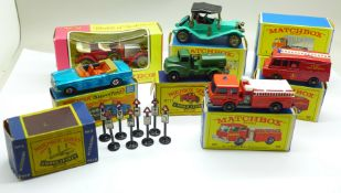 Nine Matchbox models; Series no.4 Road Signs, no.71 Army Water Truck, Series numbers 7, 29, 57 and