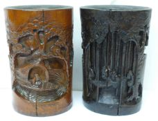 Two Chinese carved bamboo brush pots, one stained, 20cm