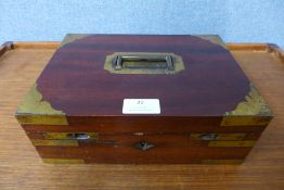 A 19th Century mahogany and brass mounted military campaign cigarette/cigar box, 10cms h, 27cms w,