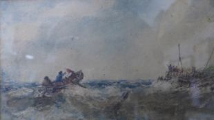 Edwin Hayes (1819-1904), boats in stormy seas, watercolour, 12 x 21cms, framed