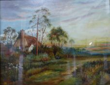 W. Read, pair of rural lansdcapes by a cottage and figures by a church , oil on board, 39 x 50cms,