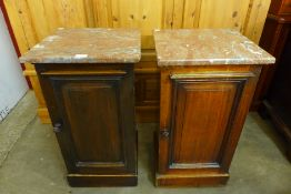 A pair of Victorian mahogany and marble topped pot cupboards, 76cms h, 41cms w, 38cms d