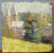 Susan Isaac, view of Southwell Minster, oil on canvas, 31 x 31cms, unframed