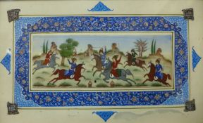 Mughal School, figures on horseback playing polo, gouache on panel, 6 x 16cns, framed