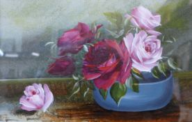 English School (early 20th Century), pair of still life's of flowers in bowls, oil and gouache on