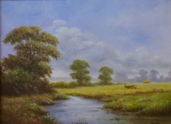 Reg Brown, pair of summer landscapes with a rural path and a stream, oil on canvas, 29 x 39cms,