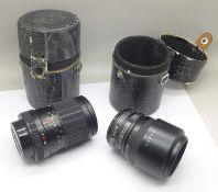 Two camera lenses; Fujica 1:3.5/135 and Fujica Samigon Aps Auto Teleplus 2x, both with cases