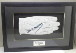 A framed and mounted signed glove by 1991 US Masters Champion, Ian Woosnam