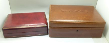 Two leather jewellery cases, one stamped 'Genuine Calf Leather, made in Italy by Hand' and with gilt