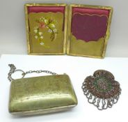 An 18th/19th Century cut-steel misers purse and two other purses