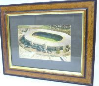 A framed photograph of Wembley Stadium, signed by Gordon Banks