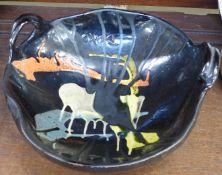 A Buxo studio pottery bowl, 29cm