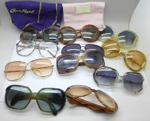 Five pairs of vintage designer sunglasses, two Christian Dior, two Ted Lapidus and one Yves Saint