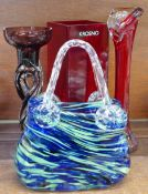 Four pieces of coloured glass including a Krosno vase