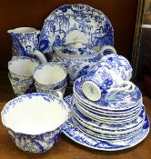A Royal Crown Derby Mikado six setting tea set, teapot a/f