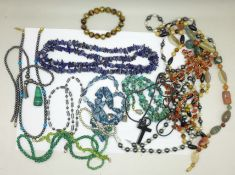 Assorted gemstone jewellery including lapis lazuli and turquoise