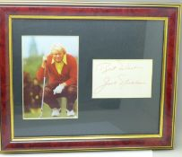 A framed photograph of Jack Nicklaus with mounted autograph