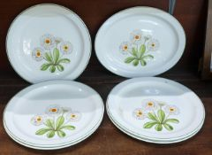 Five Midwinter Fleur dinner plates, (one a/f) and an oval plate