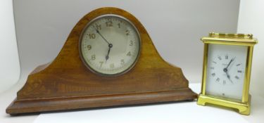 A Bayard 8-day French carriage clock and a wooden mantel clock