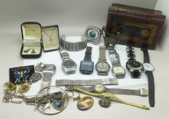 A collection of wristwatches and costume jewellery