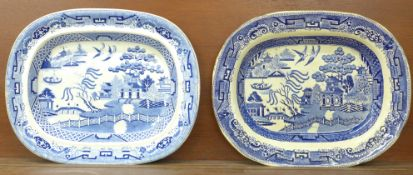 Two blue and white willow pattern meat plates, both a/f