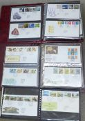 Four albums of first day covers, circa year 2000