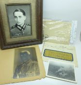 Militaria; German WWII letters, photographs, a negative of a German soldier and a framed photograph
