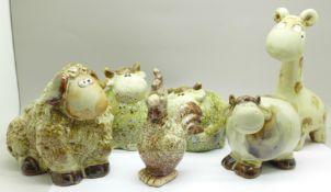 Six studio pottery animals