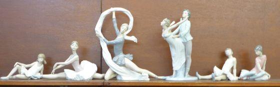 Six Nao ballerina figures, two tallest a/f (leg, finger), tallest 34cm