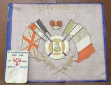 A WWI silk and needlework panel, Malta Souvenir and a carved stone ashtray with inscription 'To My