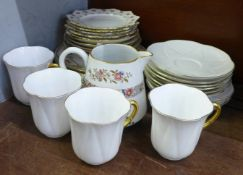 A Copelands cream jug and saucer marked Savoy Hotel, Shelley cups, saucers and side plates, (4,6,4),