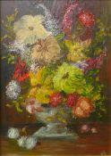 V.S., still life of flowers in a vase, oil on board, 34 x 24cms, framed