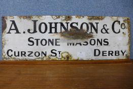 A A. Johnson & Co. Stone Masons enamelled sign