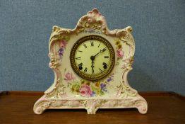 An American Ansonia Clock Company porcelain mantel clock