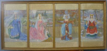 Christine M. Wells ABWS, The Four Seasons, watercolour, each 52 x 28cms, framed