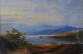 English School (19th Century), lake scene landscape, watercolour, 15 x 22cms, framed