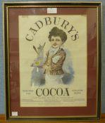 A Cadbury's Cocoa coloured advertising print, framed