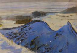 C.C. Turner, snowy winter landscape, pastel, 43 x 62cms, framed