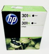 Six boxed as new HP 301 XL Black Ink Cartridge Twin Packs (D8J45AE) (Boxes sealed, some may have