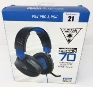 A boxed as new Recon 70 Wired Gaming Headset for PS4 Pro & PS4 (Box sealed, some cosmetic damage